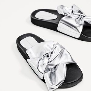 Zara silver slides with bow